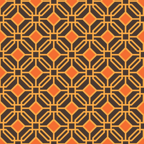 Octagon trellis - amber and orange on brown fabric by little_fish on Spoonflower - custom fabric