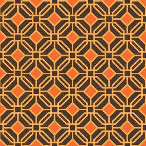 Octagon trellis - amber and orange on brown