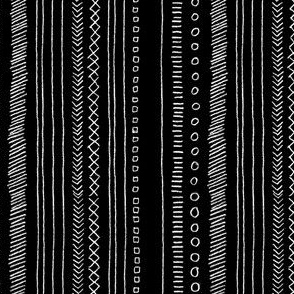 Doodled Stripes (Black & White) || pencil doodle doodles stripes geometric sketch