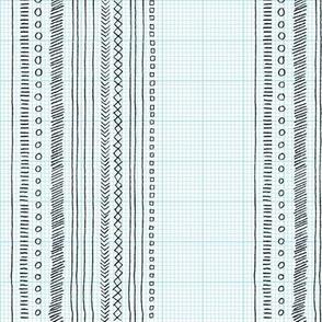 Geeky Stripes (Black on Grid) || pencil doodle doodles stripes geometric sketch graph paper