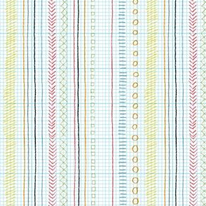 Geeky Stripes (Colored Pencil on Grid) || doodle doodles stripes geometric sketch graph paper