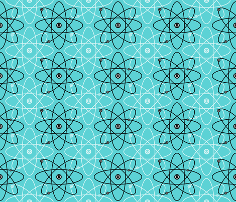 Atom-ized ~ Blue fabric by retrorudolphs on Spoonflower - custom fabric