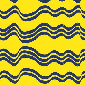 Wavy Stripes (Yellow and Navy Blue)