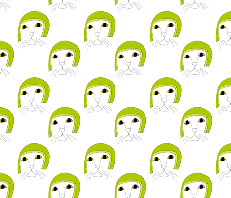 lime helmet cat fabric by chewytulip on Spoonflower - custom fabric