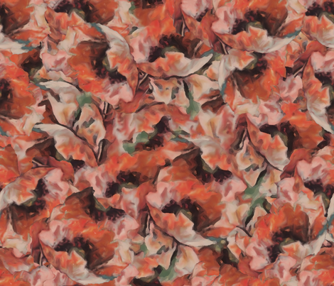 Poppies on a Rainy Afternoon fabric by anniedeb on Spoonflower - custom fabric