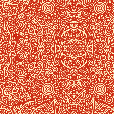 bridal mendhi in apple red fabric by weavingmajor on Spoonflower - custom fabric