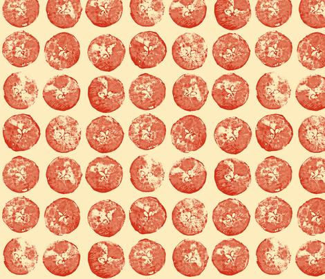 apple prints in red on cream fabric by weavingmajor on Spoonflower - custom fabric