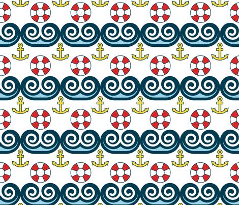 Sailing, Sailing, On the Ocean Blue fabric by pixeldust on Spoonflower - custom fabric