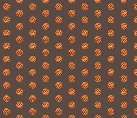 Polka_Pies_1 -on Brown fabric by fireflower on Spoonflower - custom fabric