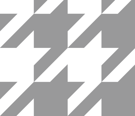Modern Cottage ~ The Houndstooth Check ~ Grey and White ~ Large fabric by peacoquettedesigns on Spoonflower - custom fabric