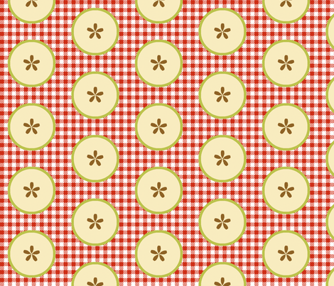 Big Green-apple Slices on Red&White Checks fabric by fireflower on Spoonflower - custom fabric