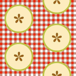 Big Green-apple Slices on Red&White Checks