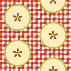 Big Green-apple Slices on Red&White Checks