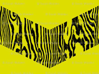 Chevron Safari ~ Black and Chartreuse Zebra