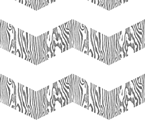 Chevron Safari ~ White and Grey Zebra Wood fabric by peacoquettedesigns on Spoonflower - custom fabric