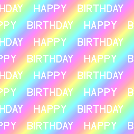 happy birthday over the rainbow fabric by sef on Spoonflower - custom fabric