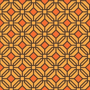 Octagon trellis - brown and orange on amber