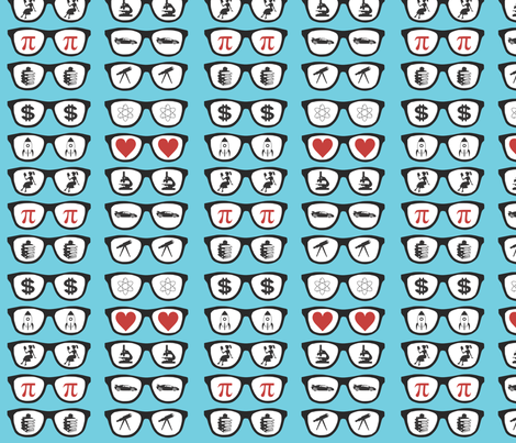 Geek Glasses - Aqua fabric by ballisticsweatergirl on Spoonflower - custom fabric
