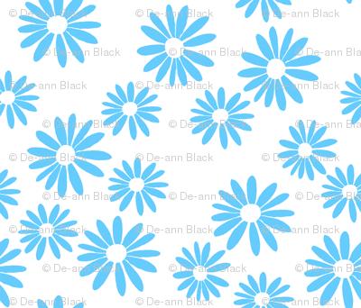 Blue Daisies on White