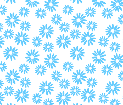 Blue Daisies on White fabric by de-ann_black on Spoonflower - custom fabric