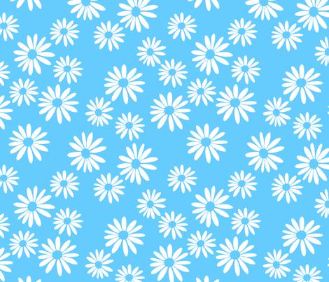 White Daisies on Blue fabric by de-ann_black on Spoonflower - custom fabric