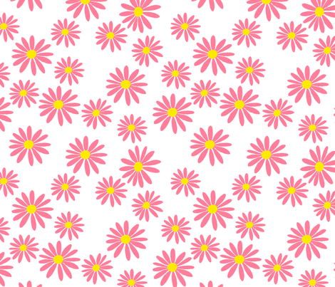 Pink Daisies on White fabric by de-ann_black on Spoonflower - custom fabric