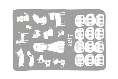 2017 Tea towel calendar - dogs grey fabric by laurawrightstudio on Spoonflower - custom fabric