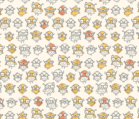 Nerd Bird fabric by auki on Spoonflower - custom fabric