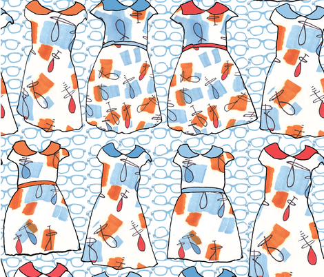 School Dresses Plus Eyeglasses @Morenz Studio fabric by bigsister on Spoonflower - custom fabric
