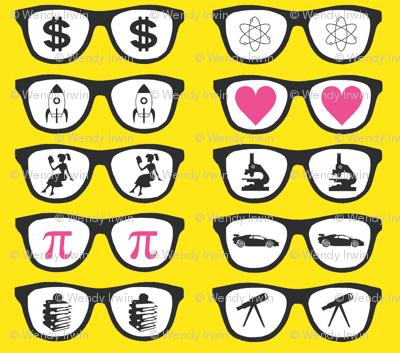 Geek glasses - yellow