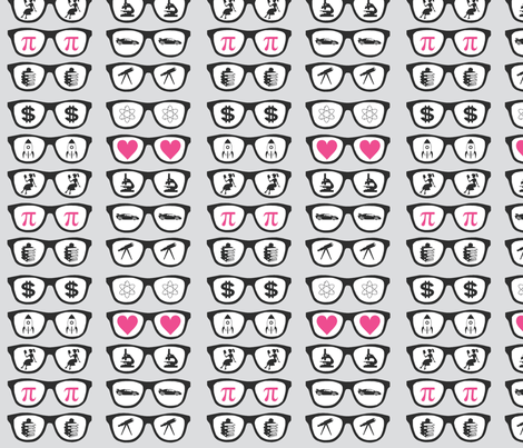 Gray Geek Glasses fabric by ballisticsweatergirl on Spoonflower - custom fabric