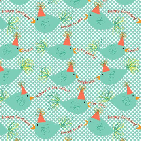 Tweet Is Your Birthday fabric by vo_aka_virginiao on Spoonflower - custom fabric