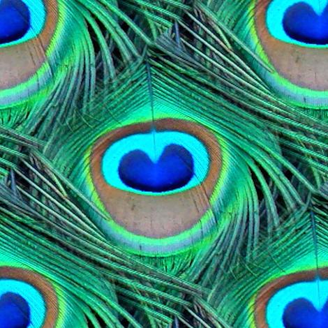 Peacock Feathers, Teal, Emerald Greens, & Royal Blues fabric by bohobear on Spoonflower - custom fabric