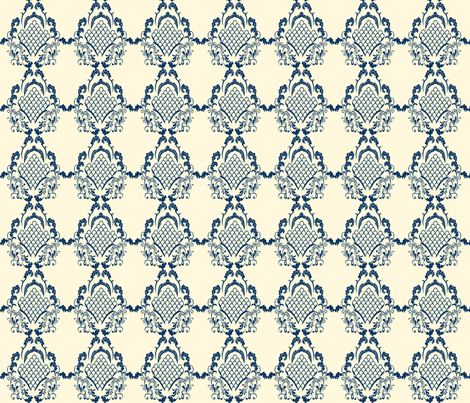 Damask_Navy fabric by lana_gordon_rast_ on Spoonflower - custom fabric