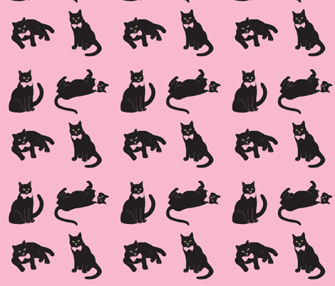 Black cats on pink fabric by magentarosedesigns on Spoonflower - custom fabric