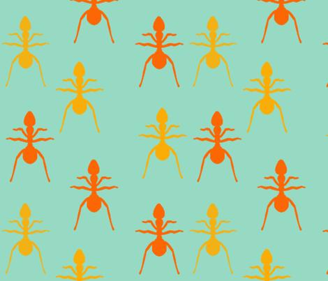 Ants on blue fabric by natalulu_too on Spoonflower - custom fabric