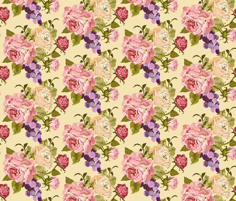 Vintage Rose Cream fabric by lana_gordon_rast_ on Spoonflower - custom fabric
