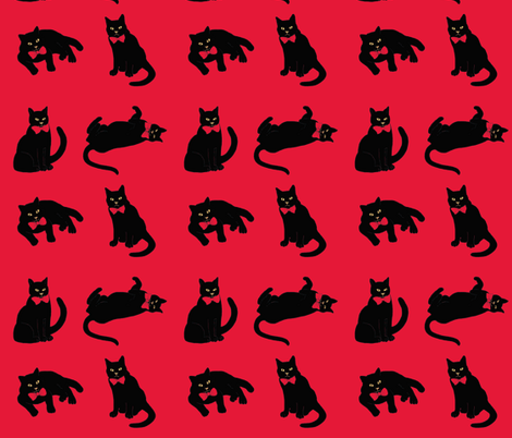 Black cats on red & no ravens because the cats ate them! ;) fabric by magentarosedesigns on Spoonflower - custom fabric