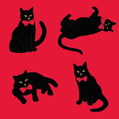 Black cats on red & no ravens because the cats ate them! ;)