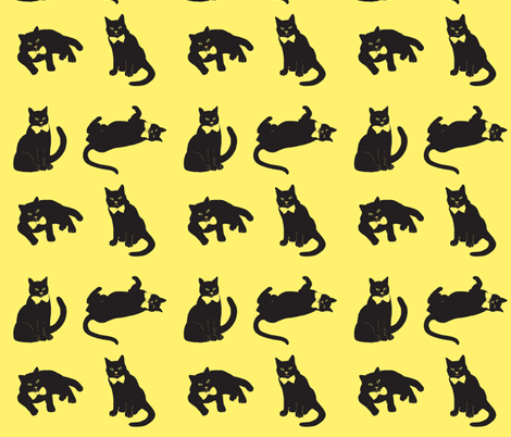 black cats on yellow fabric by magentarosedesigns on Spoonflower - custom fabric