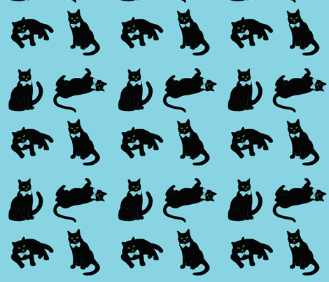 Black cats on blue fabric by magentarosedesigns on Spoonflower - custom fabric