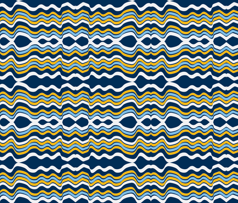 Bumpy Waters (Navy, White & Yellow) fabric by vanillabeandesigns on Spoonflower - custom fabric