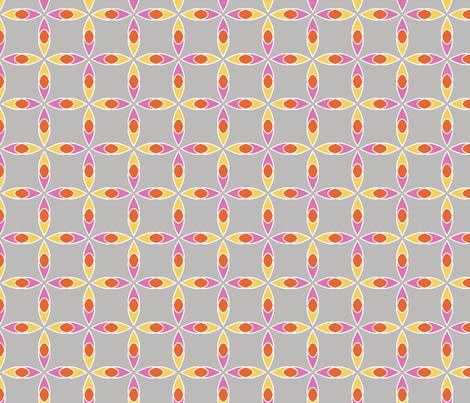 Interlocking Flowers grey fabric by jillbyers on Spoonflower - custom fabric
