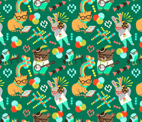 A Nerdy Bunch fabric by my_zoetrope on Spoonflower - custom fabric