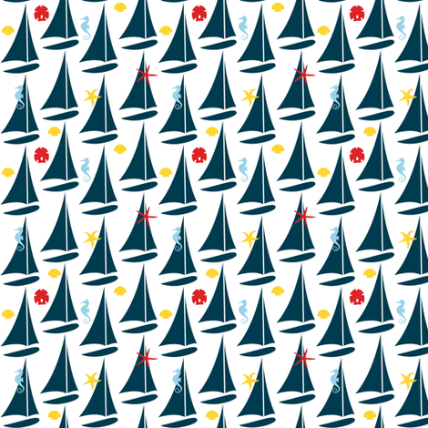 She Sails Seeking Shells fabric by sheila_marie_delgado on Spoonflower - custom fabric