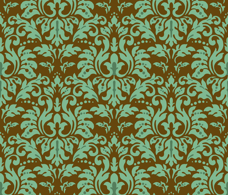 Chocolate_Aqua_Damask fabric by kelly_a on Spoonflower - custom fabric