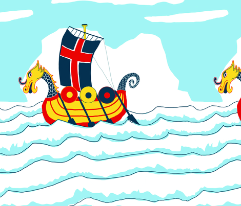 Sailing_Viking_Design-offset fabric by dansai_design on Spoonflower - custom fabric