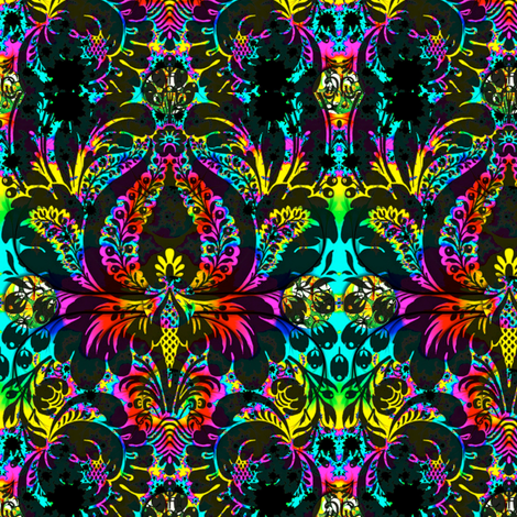 Psychedelic Damask fabric by whimzwhirled on Spoonflower - custom fabric