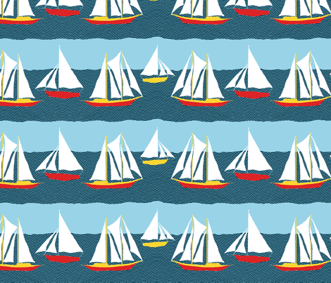 Sailing fabric by linsart on Spoonflower - custom fabric