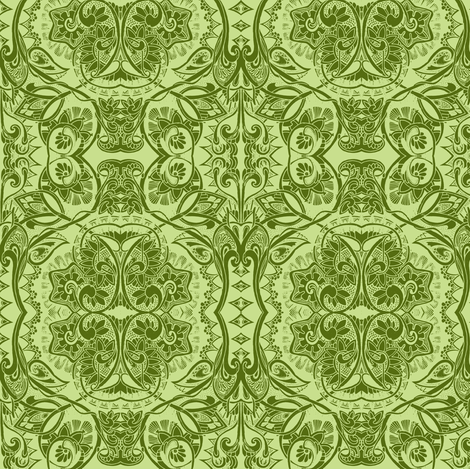 The Pocket Full of Posies (misty fern greens) fabric by edsel2084 on Spoonflower - custom fabric